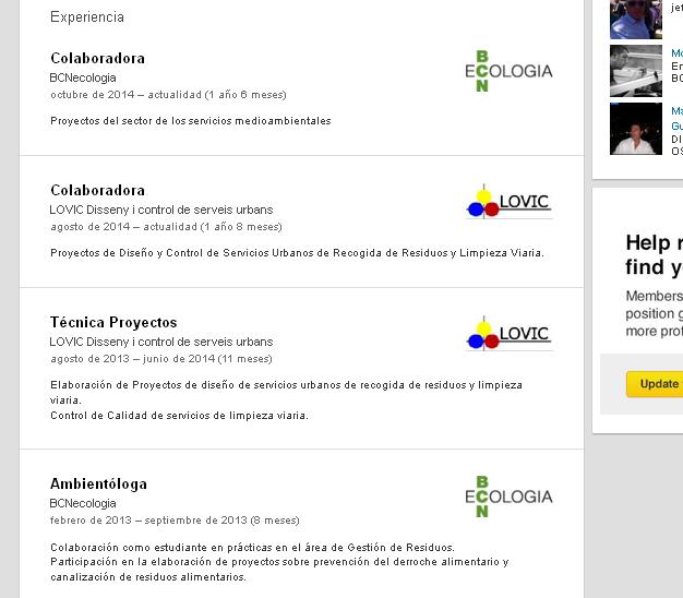 Extracte del perfil de la consultora que treballava per a les dues empreses extret d'una xarxa de perfils professionals