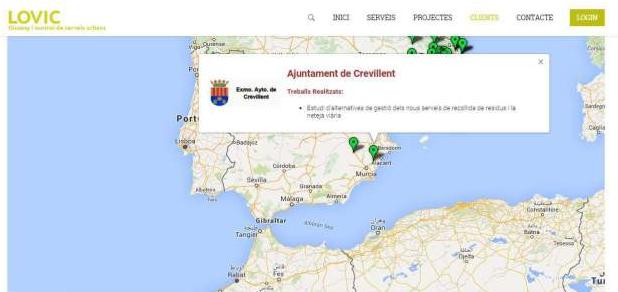 Captura de la web de l'empresa LOVIC on s'indicava que havia treballat per a l'Ajuntament de Crevillent