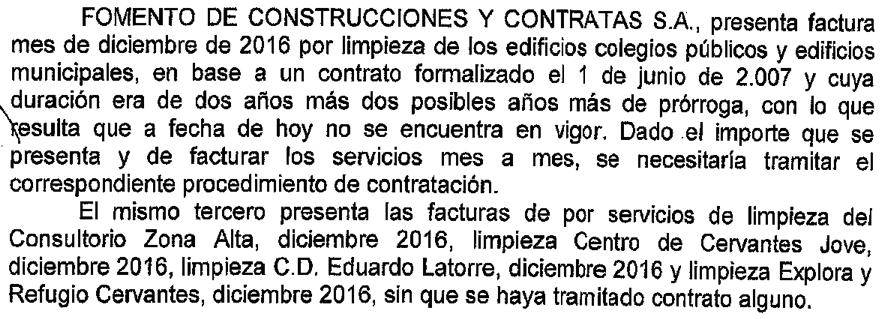 Extracte de decret d'Alcaldia que autoritza el pagament a FCC per serveis sense contracte