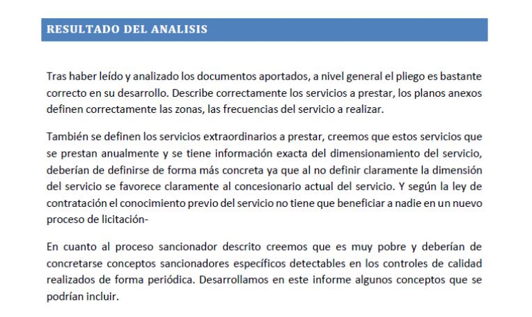 Extracte de l'informe sol·licitat per Guanyar Alcoi
