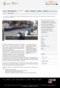 Captura de la pàgina web de BCNEcologia on es pot veure que havia treballat conjuntament amb LOVIC
