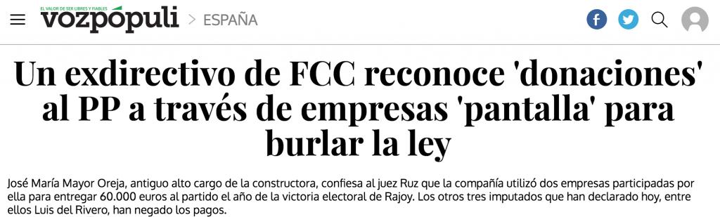 Titular de la notícia on un exdirectiu de FCC admetia donacions al PP per part de la companya