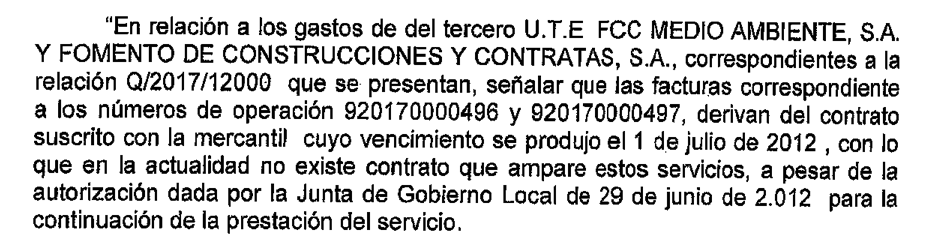 Extracte de decret d'Alcaldia que autoritza el pagament a FCC fora de contracte